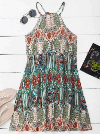 SHARE & Get it FREE | High Neck Printed Tunic Dress - Colormix SFor Fashion Lovers only:80,000+ Items • New Arrivals Daily Join Zaful: Get YOUR $50 NOW!