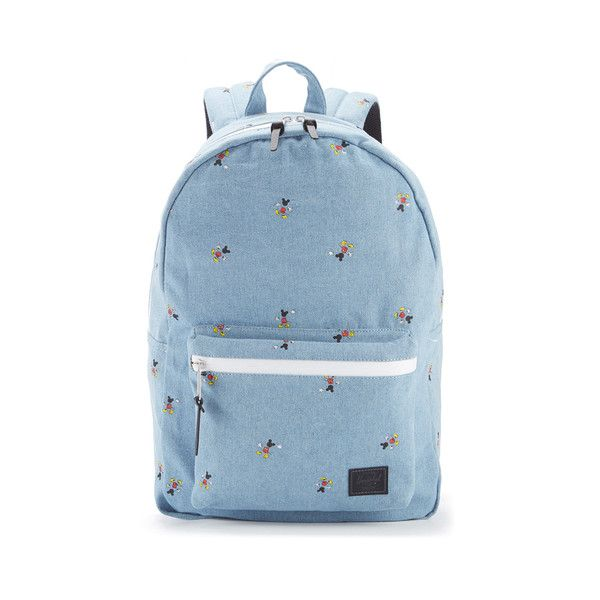 Herschel Supply Co. Settlement Disney Backpack - Denim/Black Poly ($115) ❤ liked on Polyvore featuring bags, backpacks, day pack backpack, woven backpack, denim rucksack, denim bag and top handle bags