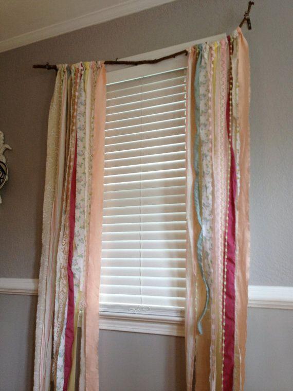 Shabby Chic Rustic Rag Curtain Window Treatment by ohMYcharley