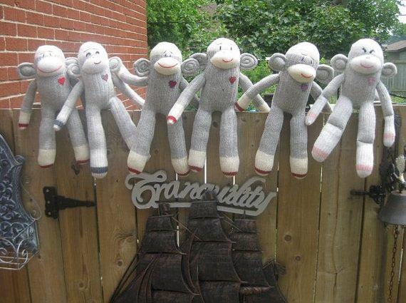 Plush Sock Monkey Toy by BananaAndySockMonkey on Etsy, $35.00