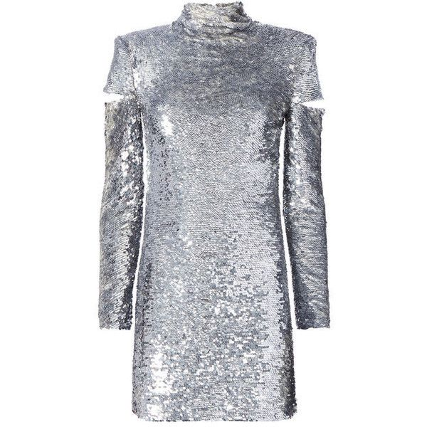 Helmut Lang Cold Shoulder Disco Sequin Dress (8430325 PYG) ❤ liked on Polyvore featuring dresses, metallic, open shoulder dress, sequin embellished dress, metallic dress, sequin dress and cutout shoulder dresses