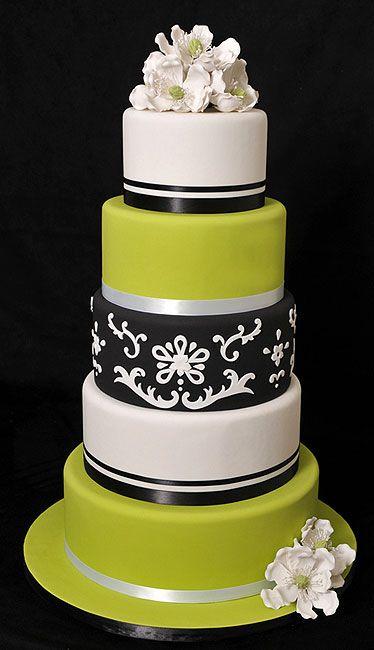 Black white and lime green wedding cake.