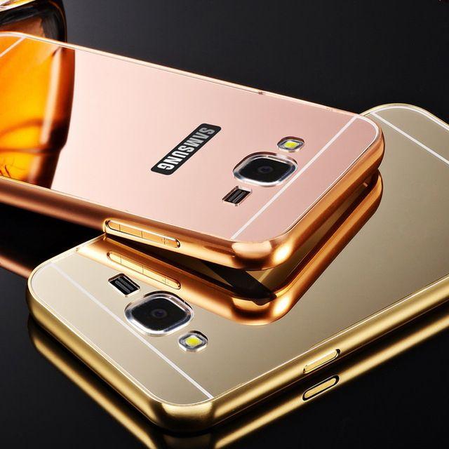 Para Samsung Galaxy J5 / J7 caixa de alta qualidade espelho acrílico flexível capa de Metal quadro J5 J7 Fundas