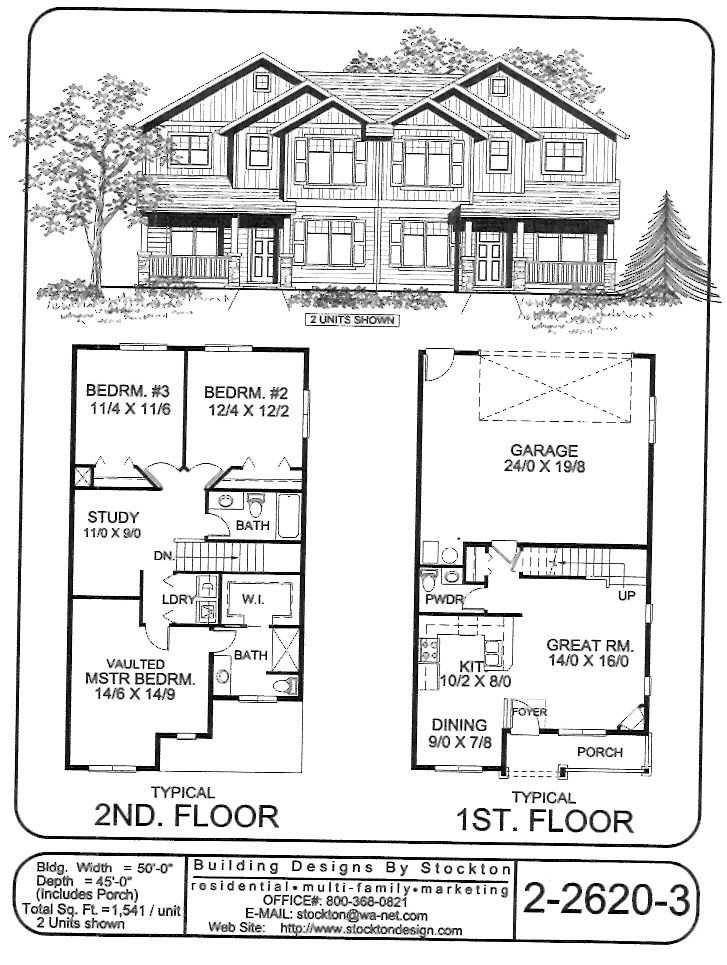 3 2 2 duplex plan building designs by stockton plan 2 Duplex floor plans with garage