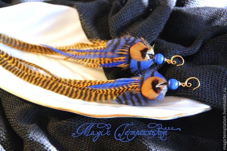 Яркие синие серьги из перьев. - синий,яркий,синие серьги,серьги ручной работы