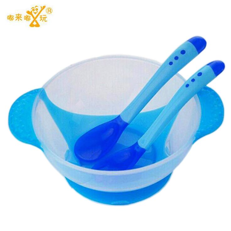 Baby Learnning Dishes With Suction Cup Assist food Bowl Temperature Sensing Spoon Drop Baby Spoon Bowl Set Baby Tableware
