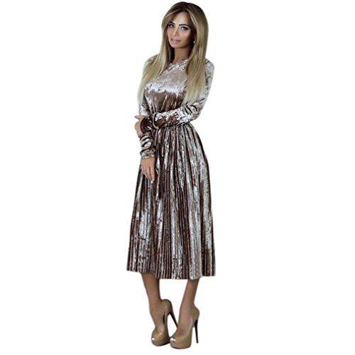 more photos 22f62 eda8f Amlaiworld Damen Winter Samt Kleid elegant Retro Flanell ...