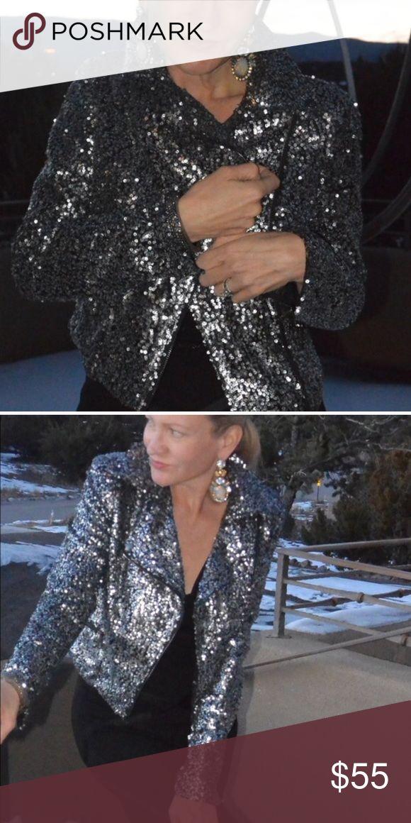 Kardashian Kollection Sequin Jacket - Size 6 Fabulous & flattering gray sequin Jacket from Kardashian Kollection! It's from Europe. Amazing quality it's a U.K. Size 10 so Size 6! I have never worn it. I am open to offers! Kardashian Kollection Jackets & Coats Blazers