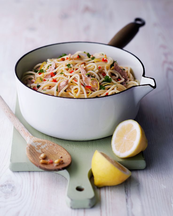 The sardines in this pasta recipe are a source of omega-3, and go beautifully with a hint of chilli and the tartness from the lemon. It also counts as