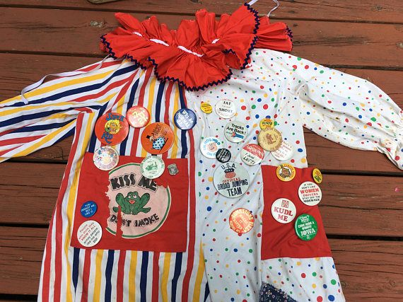 Vintage Clown Suit with Suitcase of Clown Supplies Circus