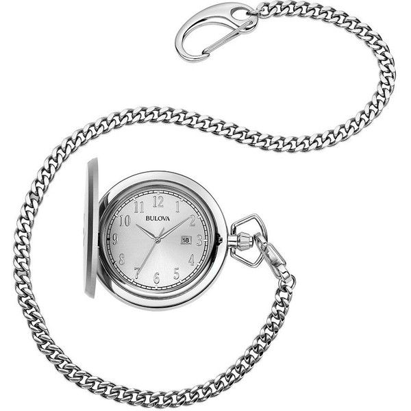 Bulova Men's Classic 3 Hand Pocket Watch, Stainless Steel 96B270 ❤ liked on Polyvore featuring men's fashion, men's jewelry, men's watches, mens stainless steel chains, bulova mens watches, mens watches jewelry, mens pocket watch and mens water resistant watches
