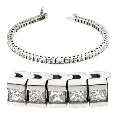14k White Gold 4.50 Dwt Diamond Princess Cut Bracelet - JewelryWeb JewelryWeb. $35265.87. Save 50% Off!