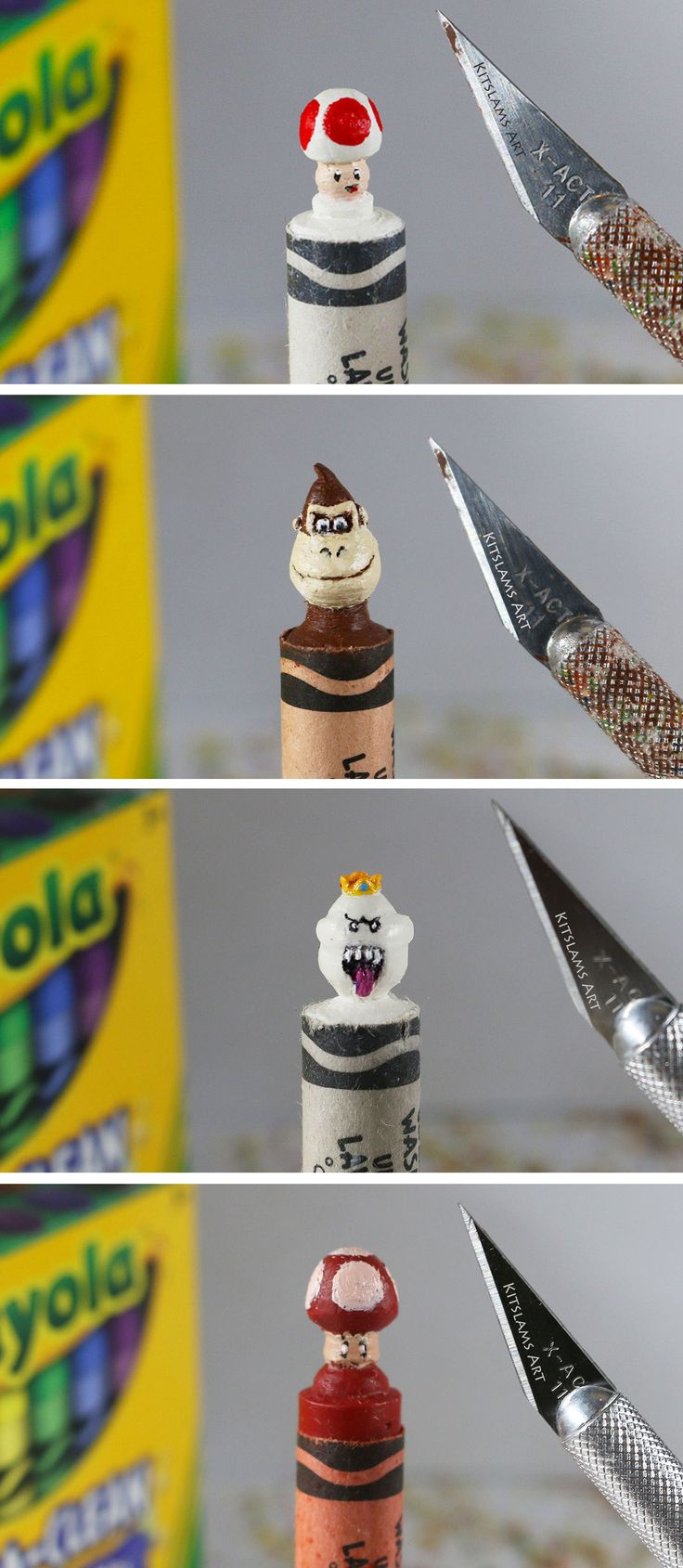 Nintendo Crayon Carving collection on the tip of Crayola Crayons by @kitslam | Videos: https://www.youtube.com/watch?v=iKSf06obKIY&list=PL3gRhsFjneo13AhSmq1mf1x5cIv52swRI&index=1