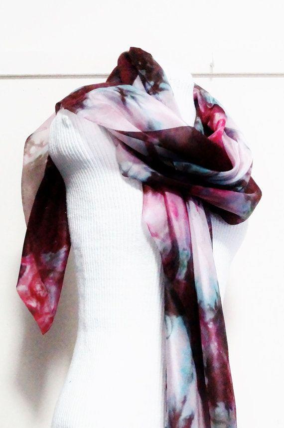 multi colour silk scarf by Memzwear on Etsy, £20.20