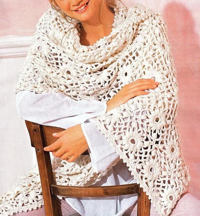 Crochet Shawls: Crochet Shawl Wrap With Free Pattern - Beautiful Motif