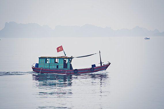 Halong Bay Fishing Boat, Northern Vietnam. Travel photography by aroundtheisland on Etsy.