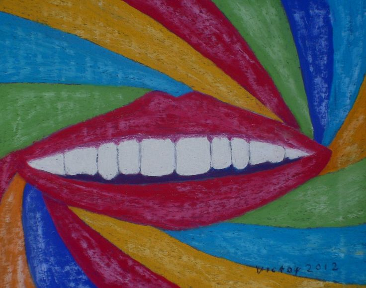 Vita tänder, pastell. White teet, pastel.
