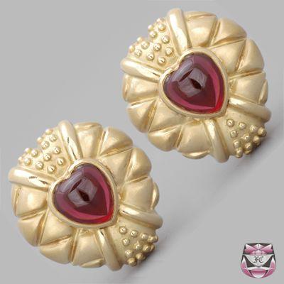 Heavy Gold Heart Garnet Earrings
