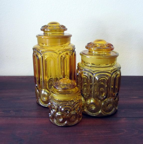 Classic yellow glass canisters-moms were that orange/red