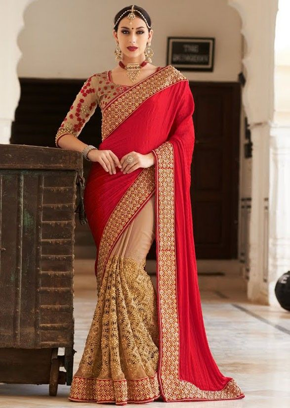 Red and Brown #Saree @ http://www.indiandesignershop.com/product/glowing-red-brown-saree/