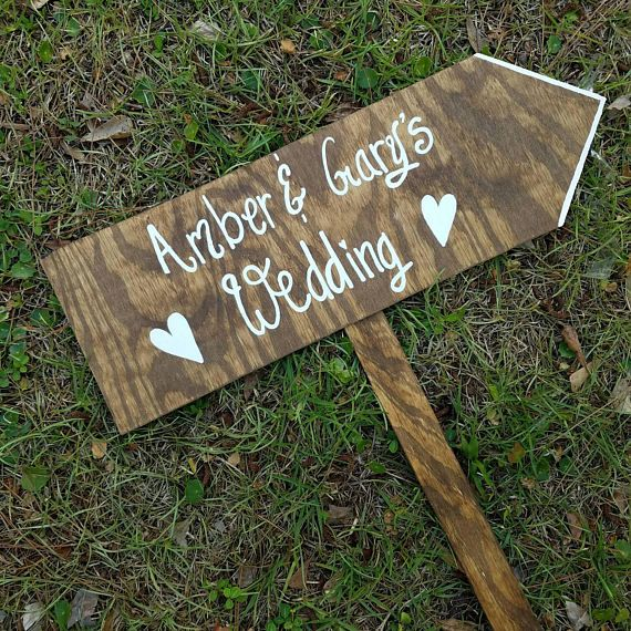 Wood Wedding Arrow Sign Ceremony Directional Signs Road Rustic Custom