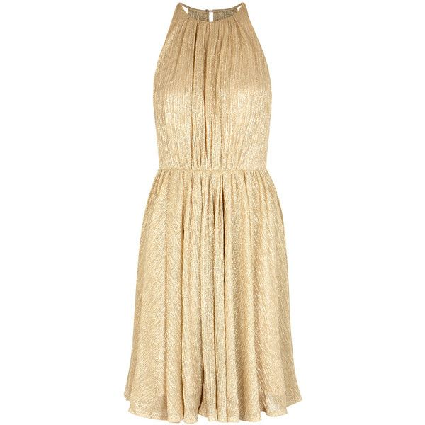 Halston Heritage Gold Open-back Plissà Dress - Size L ($535) ❤ liked on Polyvore featuring dresses, halston heritage cocktail dress, halston heritage, open back dresses, metallic gold dress and beige dress