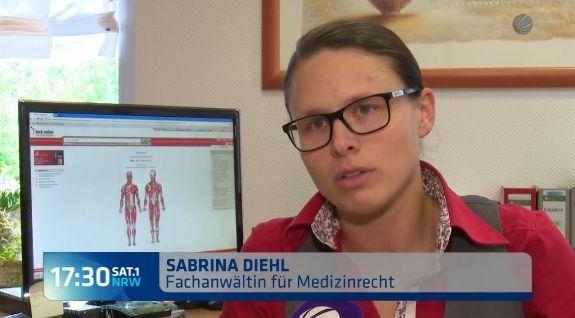 Sat1 NRW vom 21.09.2016 - Erkältung wird zu Krebs - Rechtsanwaltskanzlei Sabrina…