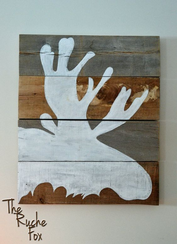 Moose Silhouette Painting on Reclaimed Wood | Silhouette Painting ...