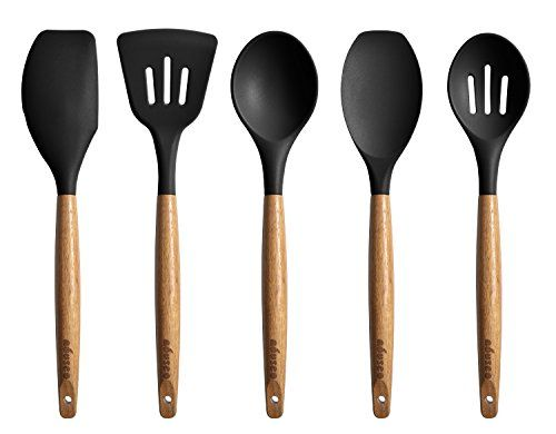 Miusco Kitchen Utensils Set Silicone Cooking Utensils with Natural Acacia Hard Wood Handle, Black. For product & price info go to:  https://all4hiking.com/products/miusco-kitchen-utensils-set-silicone-cooking-utensils-with-natural-acacia-hard-wood-handle-black/