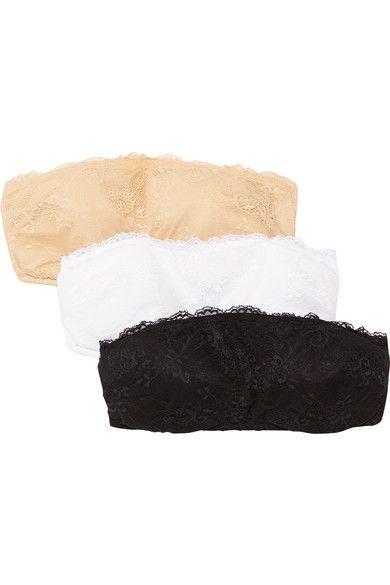 Cosabella - Trenta Set Of Three Stretch-lace Bandeau Bras - Black -