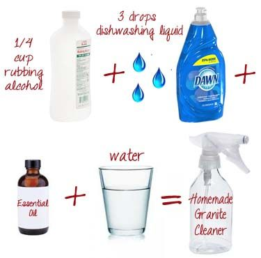 Homemade Granite Cleaner    1/4 cup of rubbing alcohol (or cheap vodka)  3 drops of Dawn or other dish soap (Castile soap would also be a good alternative if you prefer)  Water  5-10 drops essential oil (optional – to help mask the alcohol smell)    Put the rubbing alcohol or vodka into a 16 oz spray bottle. Add the dish soap, essential oil and fill up the rest of the bottle with water.