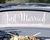 Just Married Next Stop Happily Ever After Wedding Car Window Decal Multiple Styles Wedding Decoration Wedding Gift Wedding Decal Style 5-8