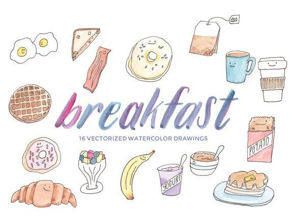 手描きの朝食食品のクリップアートを作成する独自のプランナー ステッカーまたは DIY の工芸品や装飾いたします。16 印刷解像度の PNG を (透明な背景) とインスタント デジタル ダウンロードと卵ベーコン トースト、パンケーキ ワッフル ヨーグルト フルーツ カップ バナナ ハッシュブラウン