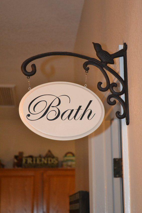 Shabby chic powder room ~ porte signe plaque ~ salle de bain toilette en suite loo