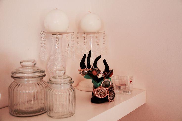 Ikea, jewelry, shelf, candles, white decoration