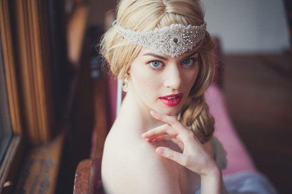 Rhinestone Bridal bandeau de Halo - Style Vintage Bohème Gatsby
