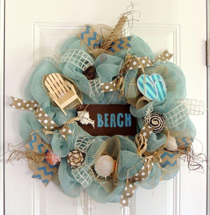 Beach Wreath Summer Deco Mesh Wreath Flip Flop Wreath