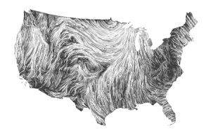 Wind map of the U.S. by Hint.fm, a collaboration between Fernanda Viégas and Martin Wattenberg