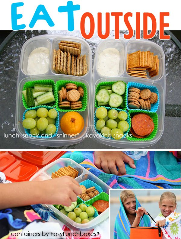 Healthy eats packed in EasyLunchboxes by Tracie of Lunch, Snack, and Sninner