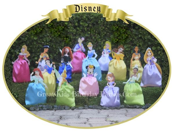 Disney Princess Party Favors - DIY Disney Princess Favor Bags.  Easy and inexpensive to make, can also use as decorations or centerpiece for a Disney Princess party.