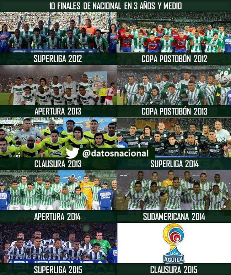 Las finales de Atlético Nacional en los últimos años
