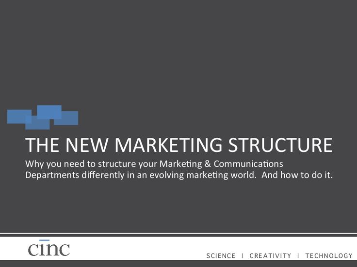 THE	   NEW	   MARKETING	   STRUCTURE	    Why	   you	   need	   to	   structure	   your	   Marke=ng	   &	   Communica=ons	 ...