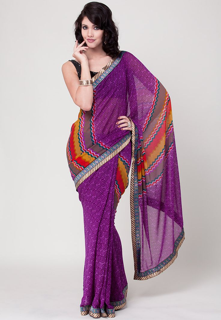 So Good Looking Purple Color #Designer Party Wear #PrintedSaree