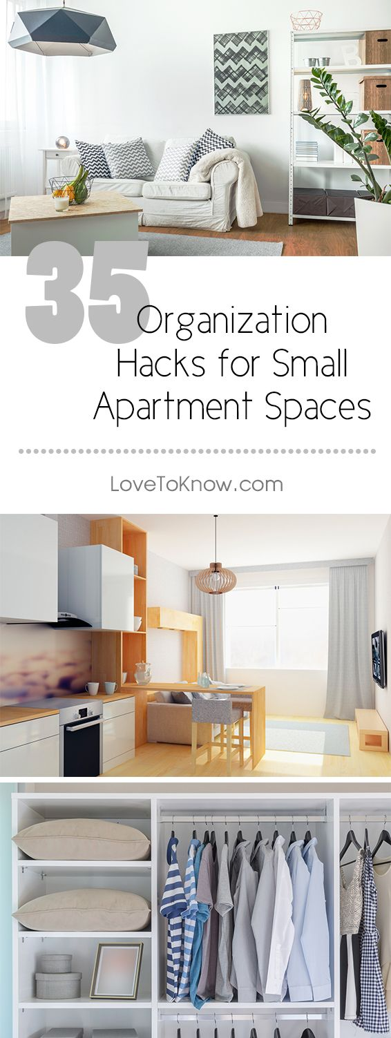 Anyone working on organizing a small apartment space may feel as though the only way to truly be comfortable is to get rid of several pieces of furniture. While this is one option, you can also take the approach of reducing the clutter, and in some instances replacing furniture with more efficient substitutes.   35 Organization Hacks for Small Apartment Spaces from #LoveToKnow