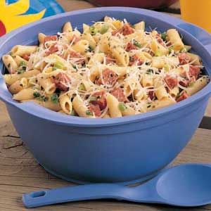 This pasta salad is awesome.  I always make it for potlucks and everyone loves it.   To make it easy I put everything BUT the pasta, salami, and cheese in a food processor.  I don't chop/cut anything except the salami.