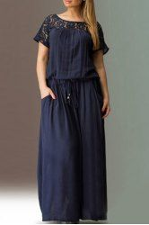 Casual Solid Color Hollow Out Lace Spliced Drawstring Maxi Dress For Women