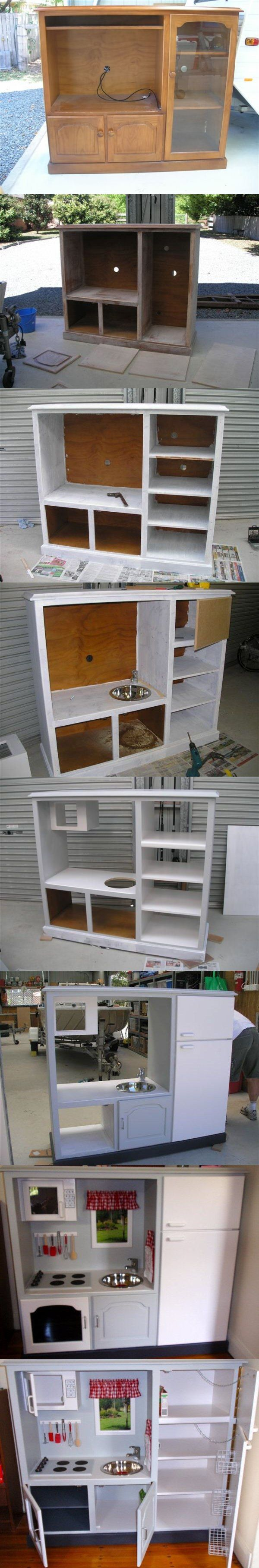 I can get an entertainment center like this at auction almost any week. I may try this.