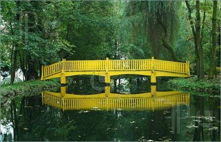I love reflections of nature in water, but how special is this yellow bridge?