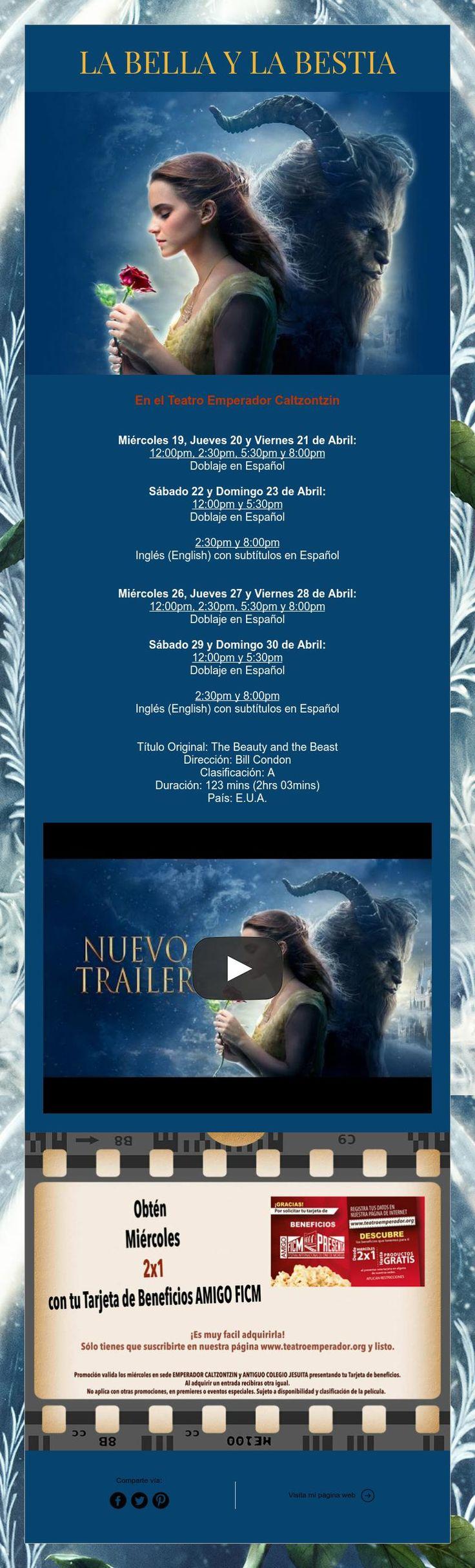 """Mañana no te pierdas el estreno en Pátzcuaro de la película """"La Bella y la Bestia"""" ¡Te Esperamos!"""