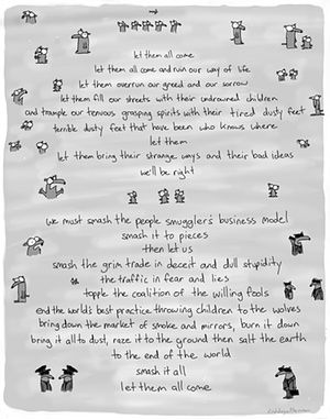 A classic First Dog on the Moon cartoon about asylum seekers, refugees and border control. Let them come.